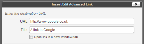 Screenshot showing URL and Title tag boxes