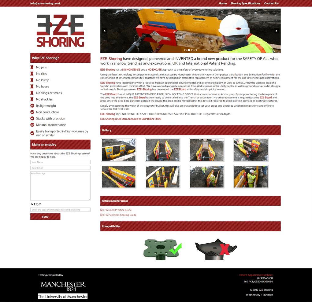 EZE Shoring - Silsden - Web Design by 418Design