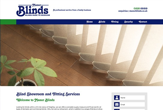 Manor Blinds Web Design Preview Thumbnail